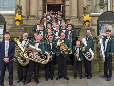 Huddersfield and Ripponden Band outside Huddersfield Town Hall
